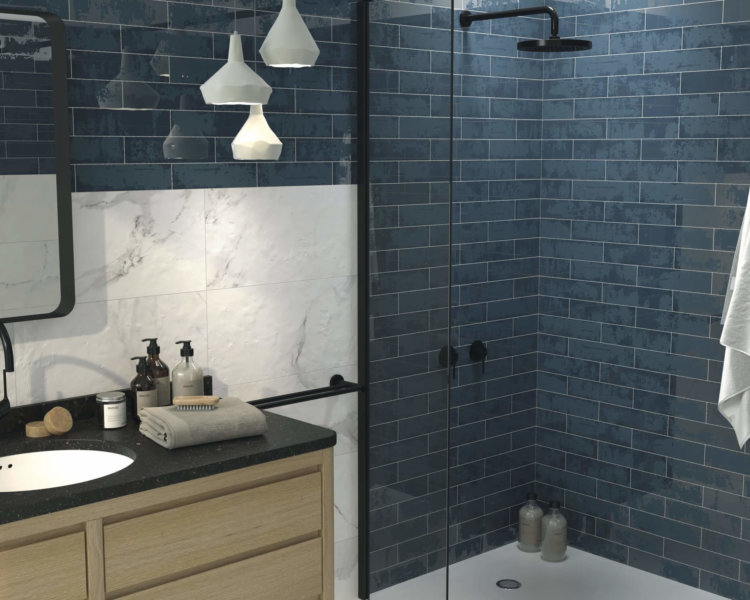 Ceramic Wall Tile Grunge Blue 7.5 x 30