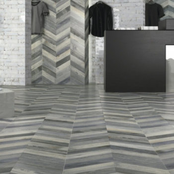 Chevron Dock Blue Porcelain Tiles Rectified